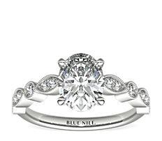 Anillo de compromiso con diamantes y detalles milgrana y marquesa   en oro blanco de 14 k (1/5 qt. total)