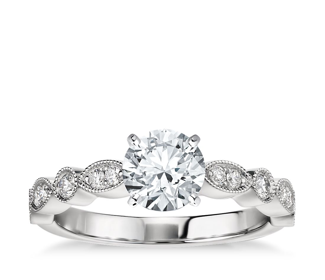 Milgrain Marquise and Dot Diamond Engagement Ring in Platinum (1/5 ct. tw.)