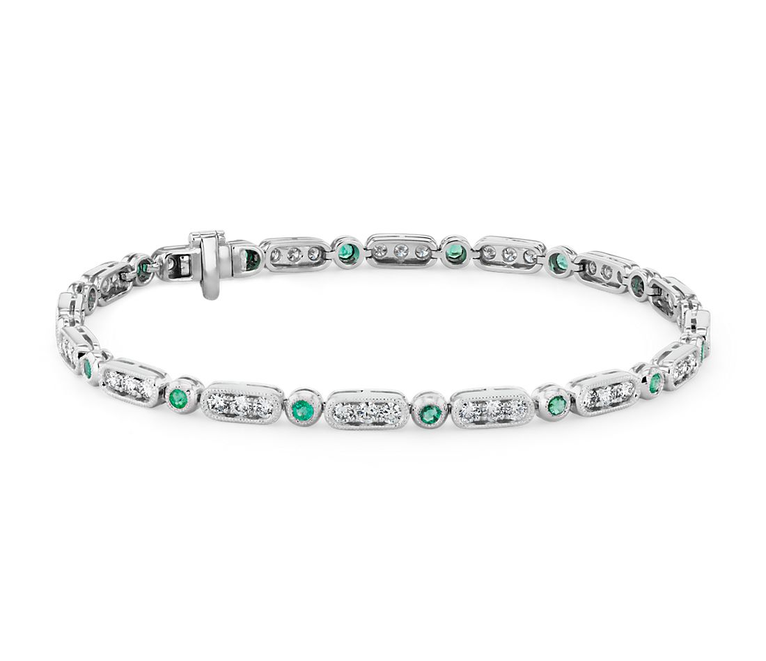 Milgrain Emerald and Diamond Bracelet in 14k White Gold (2mm)