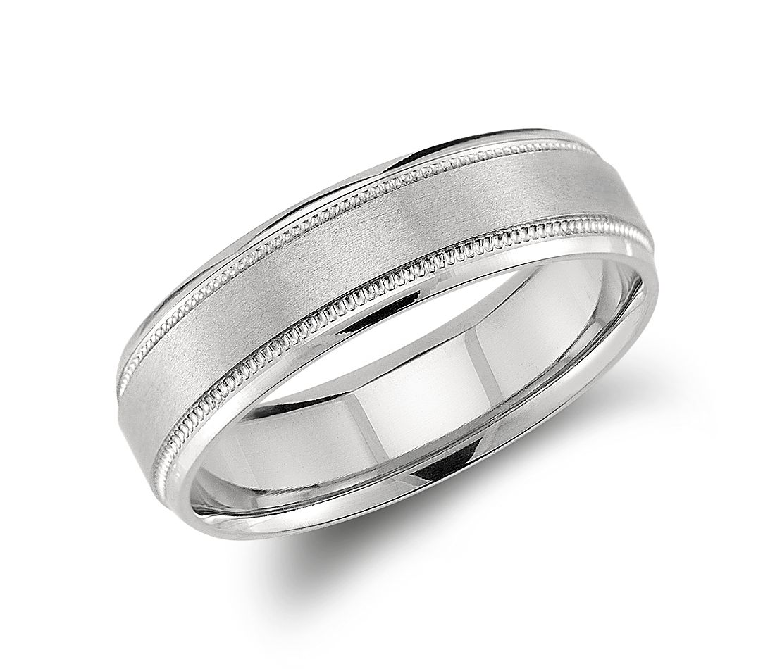 milgrain emery wedding ring in palladium 6mm - Wedding Ring For Men