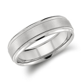 Milgrain Emery Wedding Ring in Palladium (6mm)