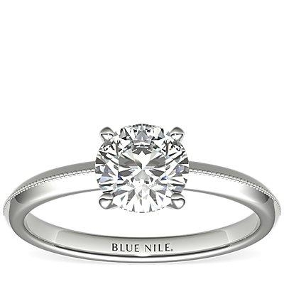 Milgrain Knife Edge Engagement Ring in 14k White Gold