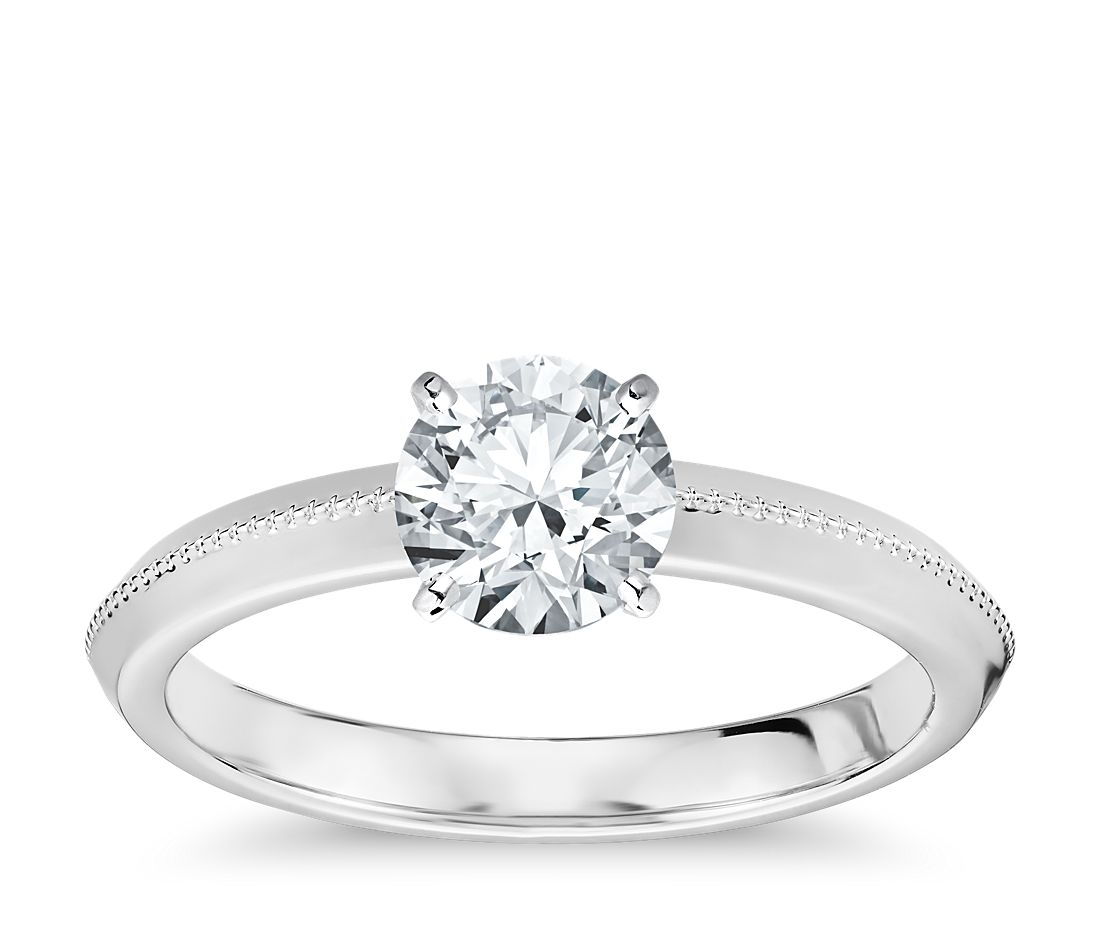 Milgrain Knife-Edge Solitaire Engagement Ring in 14k White Gold