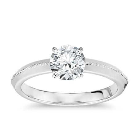Milgrain Knife-Edge Solitaire Engagement Ring in 14k White Gold