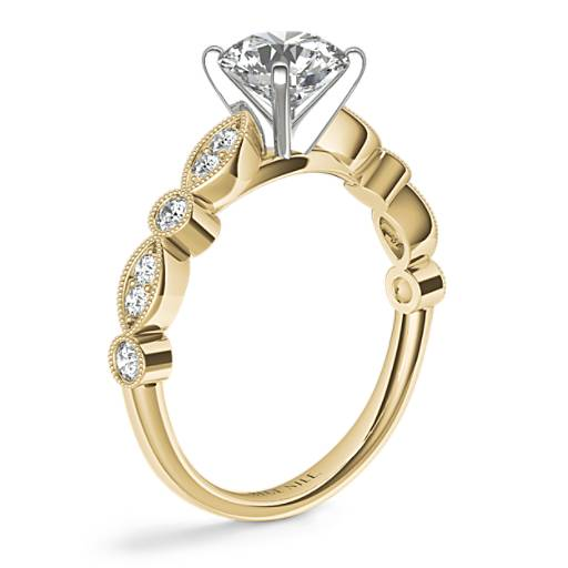 Milgrain Marquise and Dot Diamond Engagement Ring