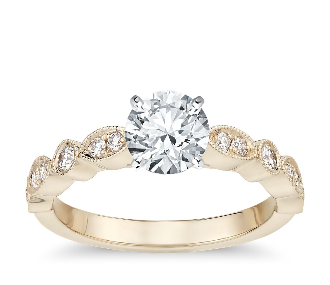 Milgrain Marquise and Dot Diamond Engagement Ring in 14k Yellow Gold (1/10 ct. tw.)