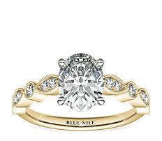 Anillo de compromiso con diamantes y detalles milgrana y marquesa   en oro amarillo de 14k (1/5 qt. total)