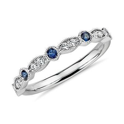 Milgrain Marquise Diamond and Sapphire Ring in 14k White Gold