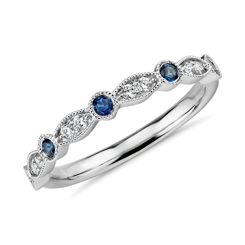 Milgrain Marquise Diamond and Sapphire Ring in 14k White Gold (1/