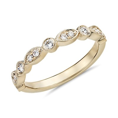 Milgrain Marquise and Dot Diamond Ring in 14k Yellow Gold (1/5 ct. tw.)