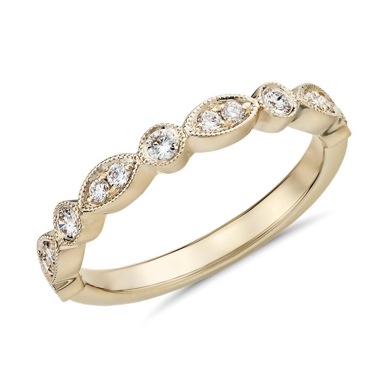 Milgrain Marquise and Dot Diamond Ring in 14kYellow Gold