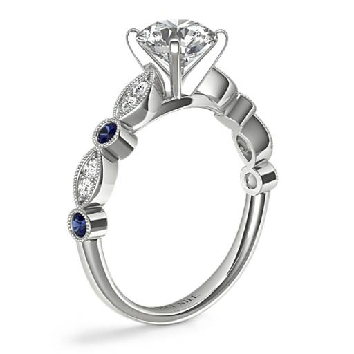 Milgrain Marquise Diamond and Sapphire Engagement Ring