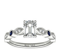 Milgrain Marquise Diamond and Sapphire Engagement Ring in 14k White Gold (1/10 ct. tw.)