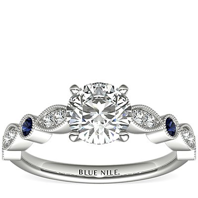 Milgrain Marquise Diamond and Sapphire Engagement Ring in 14k White Gold