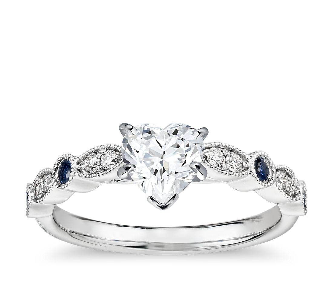 40d9cbf39e1 Milgrain Marquise Diamond and Sapphire Engagement Ring in 14k White Gold