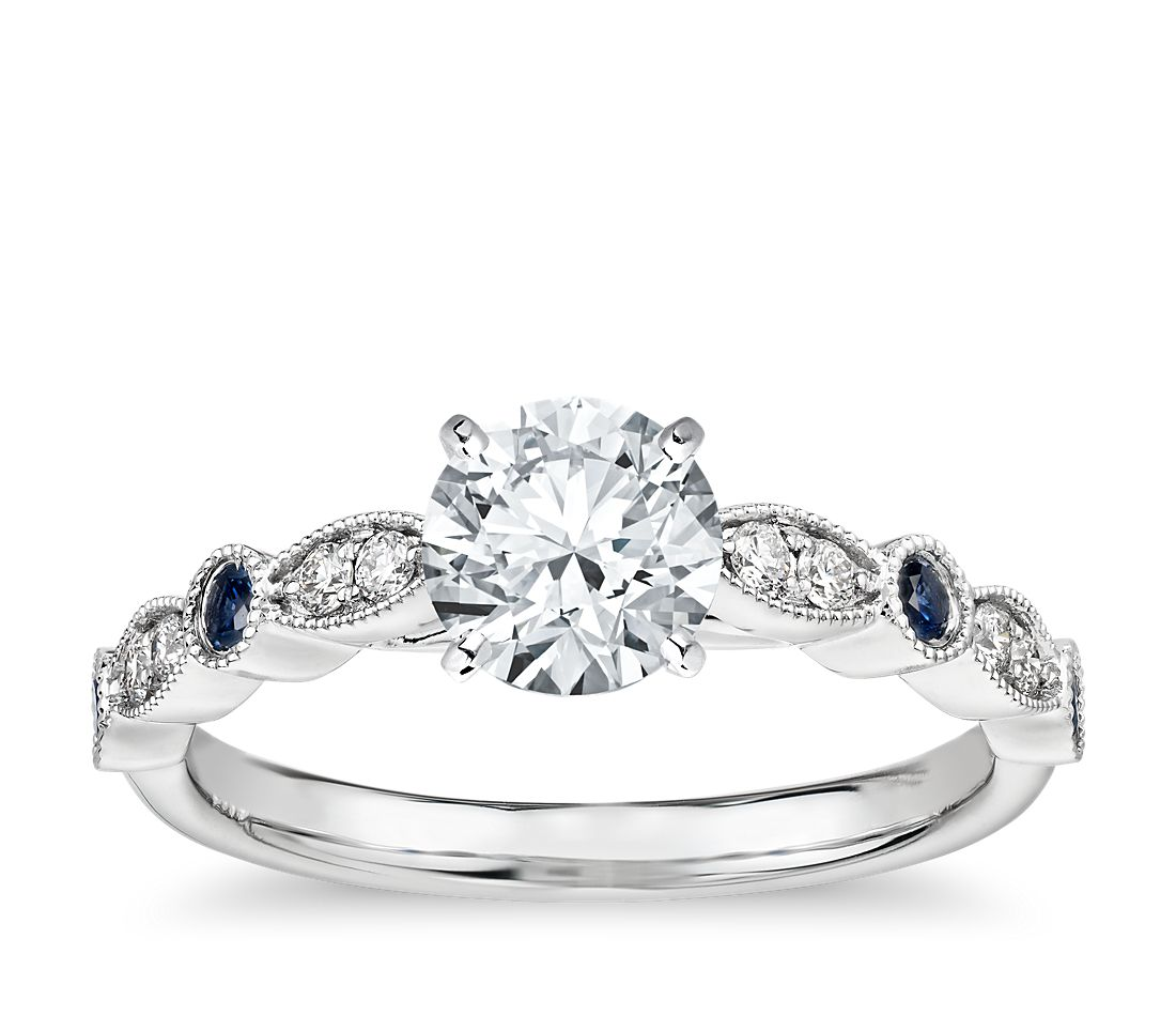 Milgrain Marquise Diamond And Sapphire Engagement Ring In