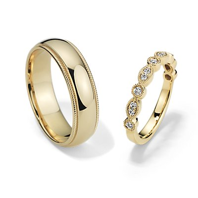Milgrain Marquise Dot Diamond and Comfort Fit Set in 14k Yellow Gold