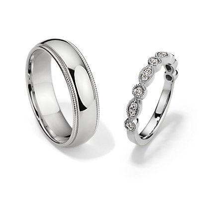Milgrain Marquise Dot Diamond and Comfort Fit Set in Platinum