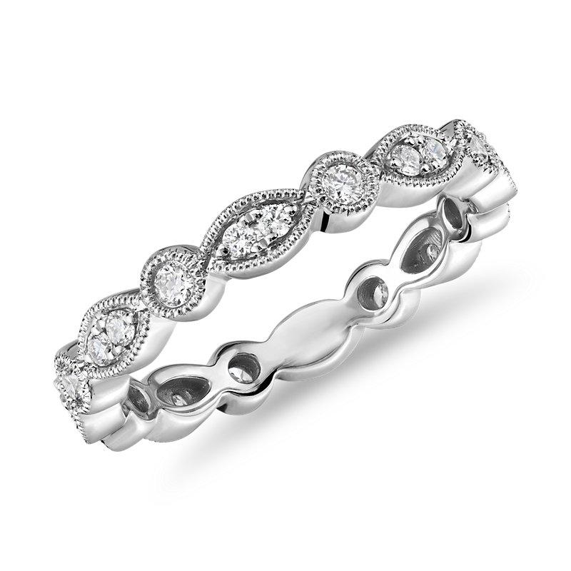 Milgrain Marquise and Dot Diamond Eternity Ring in 14k White Gold