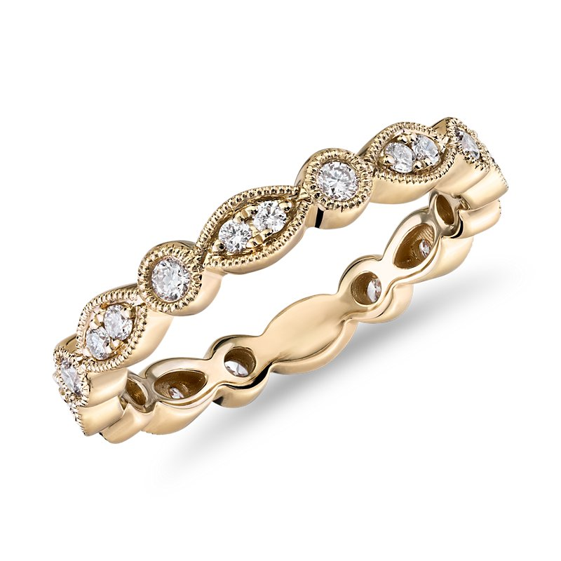 Milgrain Marquise and Dot Diamond Eternity Ring in 14k Yellow Gol