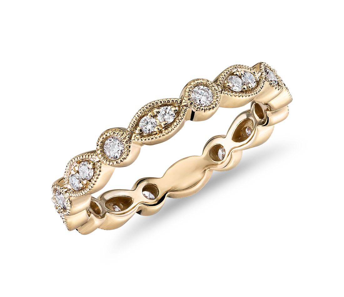 Milgrain Marquise and Dot Diamond Eternity Ring in 14k Yellow Gold (1/3 ct. tw.)