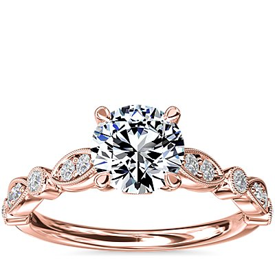 NEW Cathedral Milgrain Marquise-Shape and Dot Diamond Engagement Ring in 14k Rose Gold (1/5 ct. tw.)