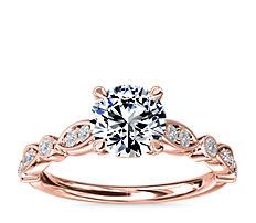 新款 14k 玫瑰金大教堂锯状滚边榄尖形及圆点钻石订婚戒指<br>(1/5 克拉总重量)