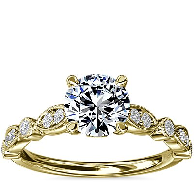 NEW Cathedral Milgrain Marquise-Shape and Dot Diamond Engagement Ring in 14k Yellow Gold (1/5 ct. tw.)