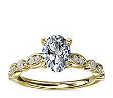 Anillo de compromiso de diamantes, con patrón de marquesa y puntos, milgrain y engarce catedral en oro amarillo de 14k (1/5 qt. total)