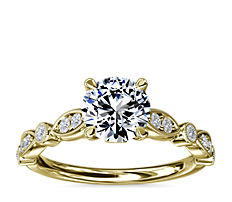 Cathedral Milgrain Marquise-Shape and Dot Diamond Engagement Ring in 14k Yellow Gold (1/5 ct. tw.)