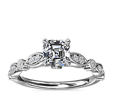 NEW Cathedral Milgrain Marquise-Shape and Dot Diamond Engagement Ring in Platinum (1/5 ct. tw.)