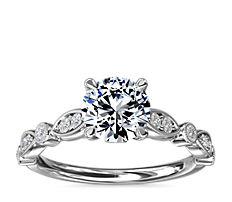 Bague de fiançailles cathédrale diamant forme marquise mille-grains et pois en platine (1/5carat, poids total)