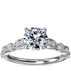 Cathedral Milgrain Marquise-Shape and Dot Diamond Engagement Ring in Platinum (1/5 ct. tw.)