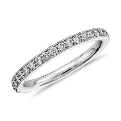 Riviera Pav Milgrain Diamond Ring in 14k White Gold 14 ct tw