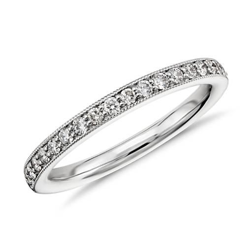 Riviera Pavé Milgrain Diamond Ring in 14k White Gold (1/4 ct. tw.)