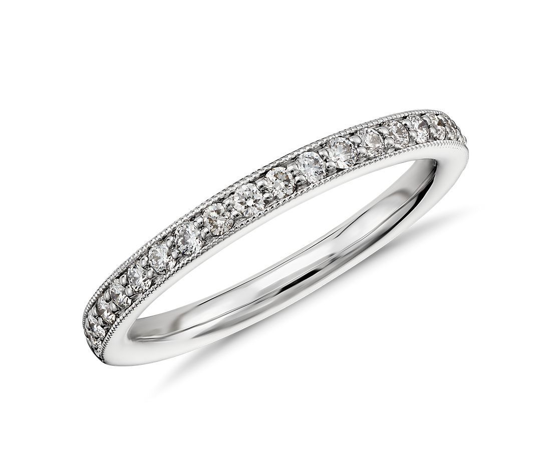 Riviera Pavé Milgrain Diamond Ring in 14k White Gold (1/4 ct. tw.)