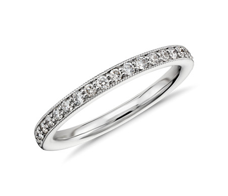 Blue Nile Riviera Pave Milgrain Diamond Ring in 14k White Gold (1/4 ct. tw.) oj1I3
