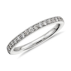 Riviera Pavé Milgrain Diamond Ring in 14k White Gold
