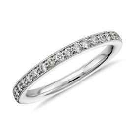 NEW Riviera Pavé Milgrain Diamond Ring in 14k White Gold