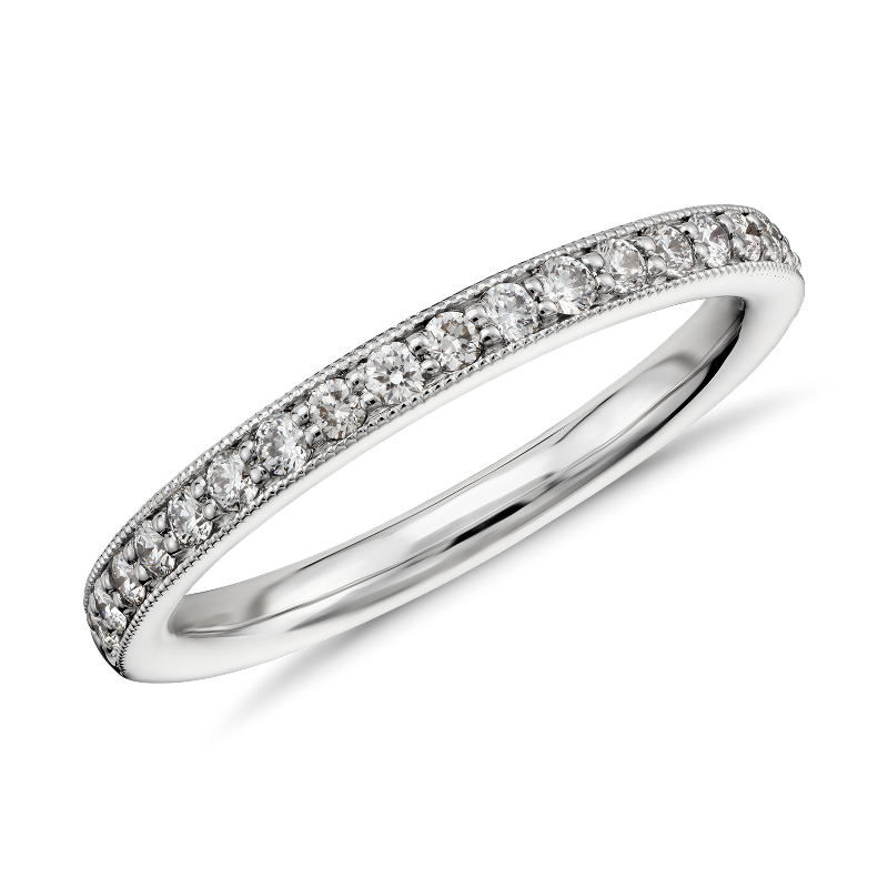 Riviera Pavé Heirloom Diamond Ring in 14k White Gold (1/4