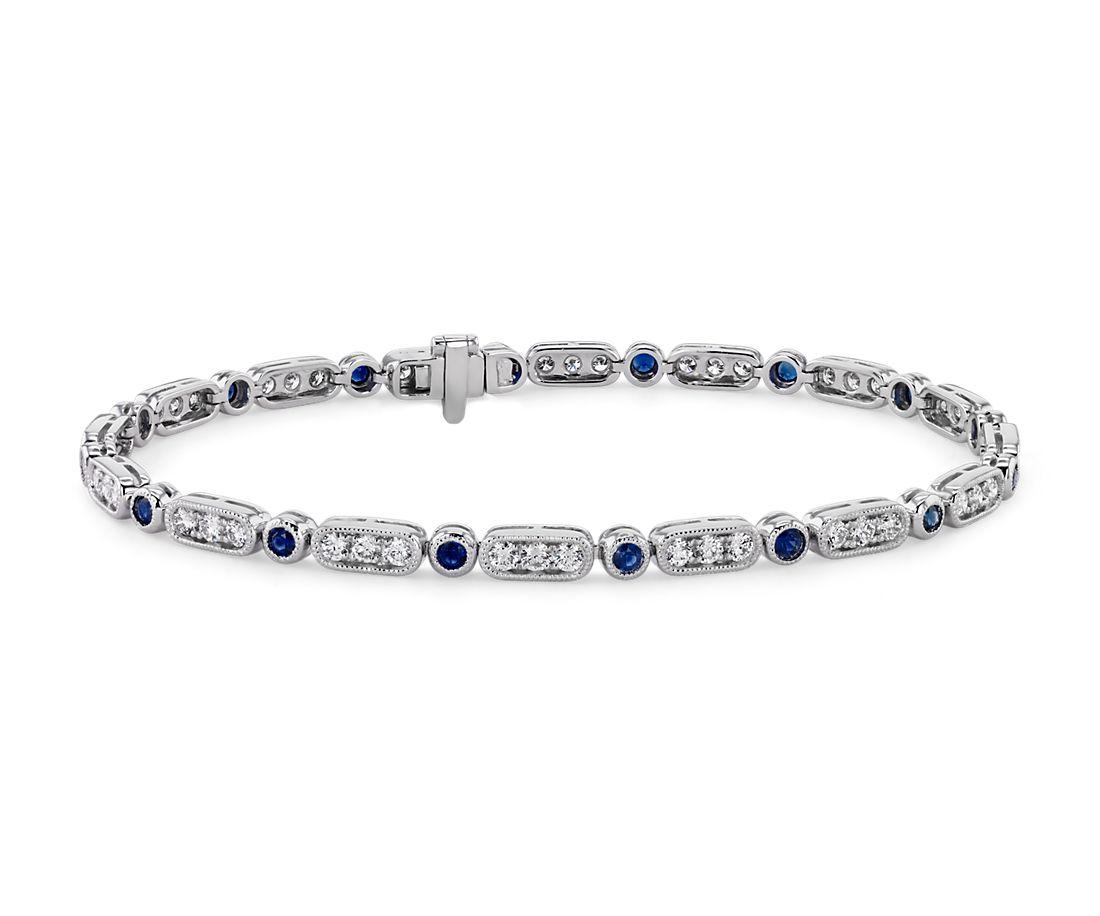 Milgrain Sapphire and Diamond Bracelet in 14k White Gold (2mm)