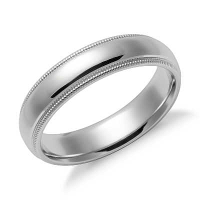 Milgrain Comfort Fit Wedding Ring in Platinum 5mm Blue Nile