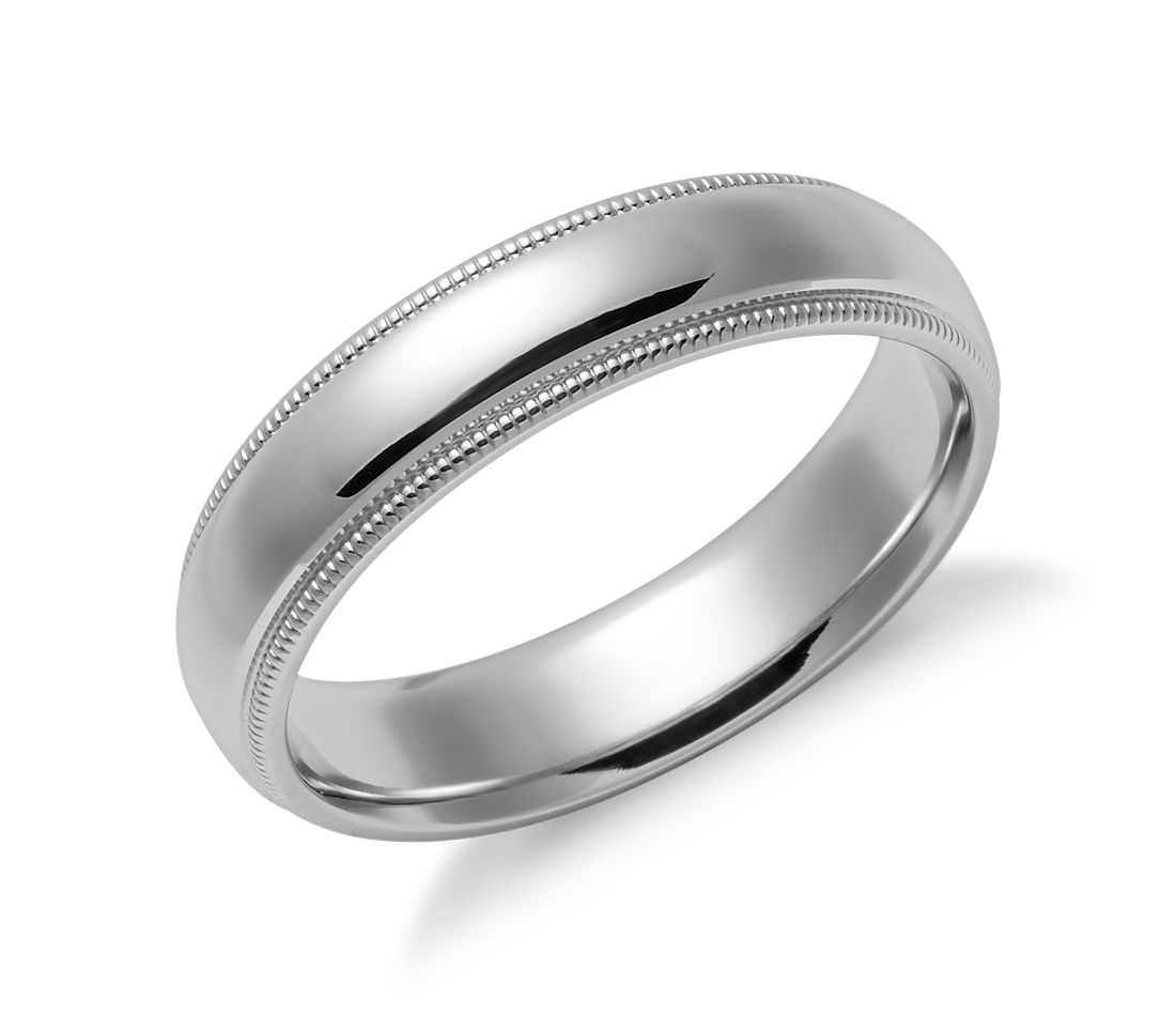 milgrain comfort fit wedding ring in platinum 5mm - Blue Wedding Ring