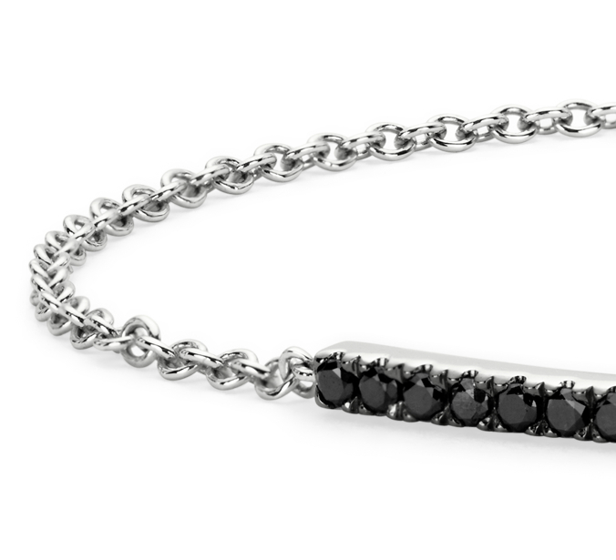 Black Diamond Bar Bracelet in 14k White Gold