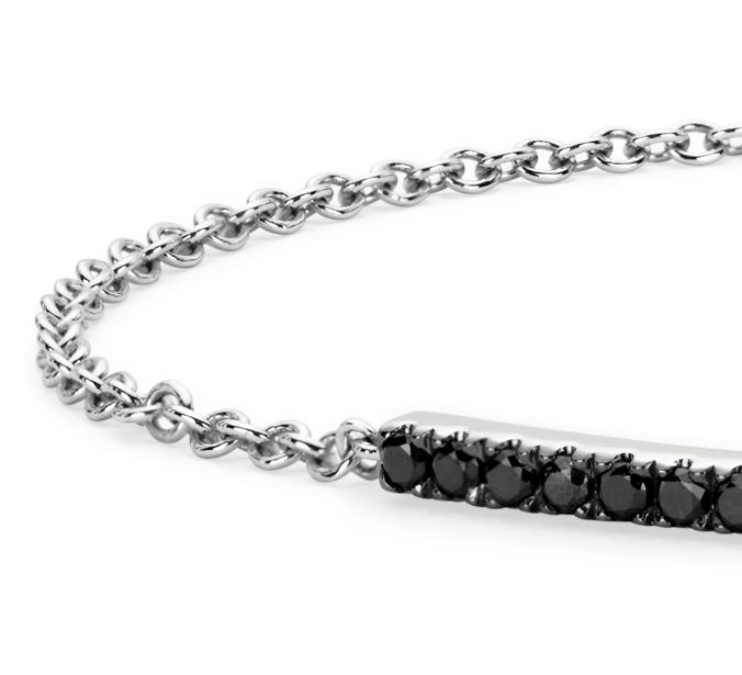 Brazalete con barra de diamantes negros en oro blanco de 14 k