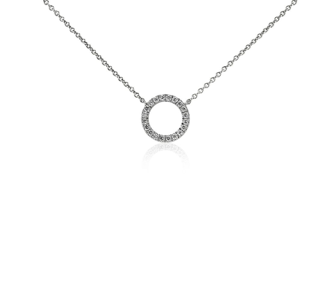 mini open circle diamond necklace in 14k white gold blue