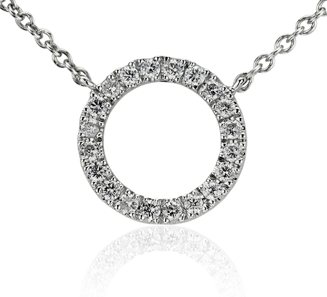 Petit collier en diamants cercle ouvert en or blanc 14 carats