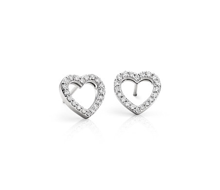 Mini Heart Diamond Earrings In 14k White Gold 1 3 Ct Tw