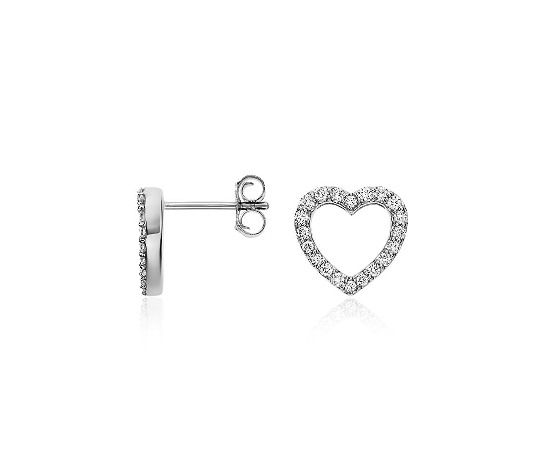 Mini Heart Diamond Earrings in 14k White Gold