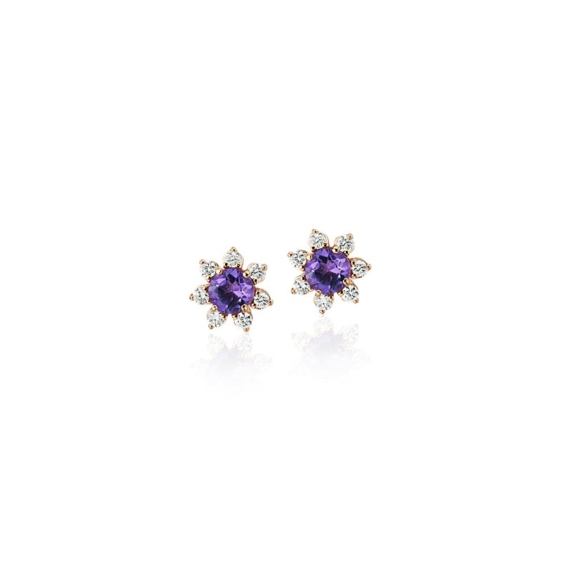 Mini Amethyst Earrings with Diamond Blossom Halo in 14k Rose Gold